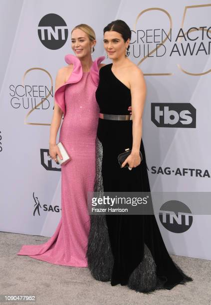 Emily Blunt and Rachel Weisz attend the 25th Annual Screen ActorsGuild Awards at The Shrine Auditorium on January 27 2019 in Los Angeles California