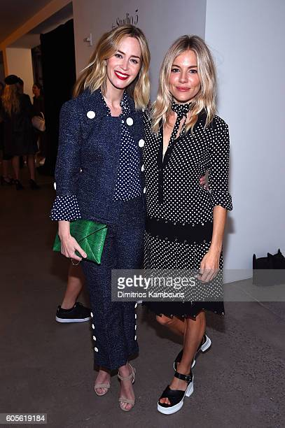 Emily Blunt and Sienna Miller attend the Michael Kors Spring 2017 Runway Show during New York Fashion Week at Spring Studios on September 14 2016 in...
