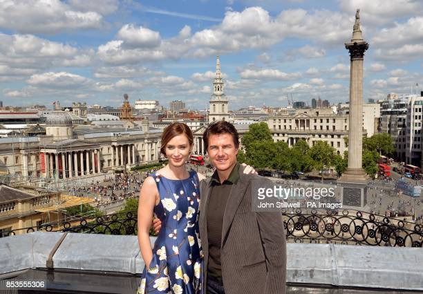Emily Blunt and Tom Cruise at a photocall above Trafalgar Square in central London where in their new film Edge of Tomorrow a helicopter was landed...