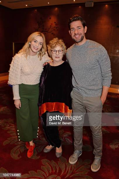 Emily Blunt Angie Errigo and John Krasinski attend a special BAFTA Screening of Paramount Pictures' 'A Quiet Place' at The Mayfair Hotel on October 8...