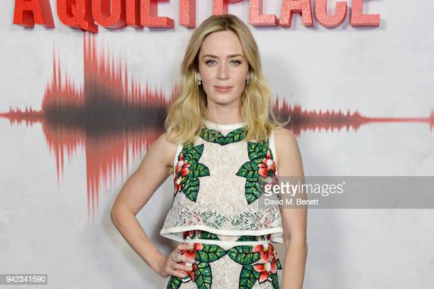 """Emily Blunt attends an immersive fan screening of """"A Quiet Place"""" at The Curzon Soho on April 5, 2018 in London, England."""