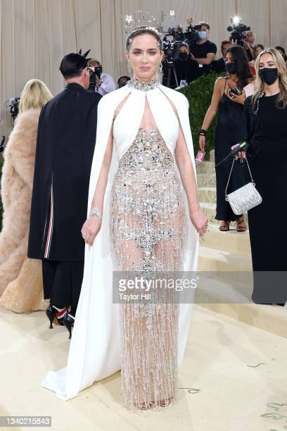 """Emily Blunt attends the 2021 Met Gala benefit """"In America: A Lexicon of Fashion"""" at Metropolitan Museum of Art on September 13, 2021 in New York City."""