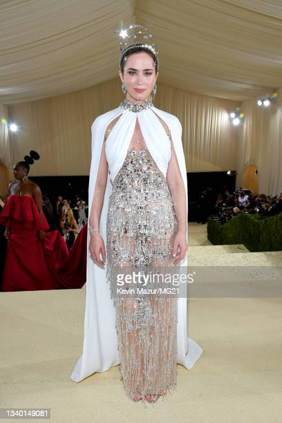 Emily Blunt attends The 2021 Met Gala Celebrating In America: A Lexicon Of Fashion at Metropolitan Museum of Art on September 13, 2021 in New York...
