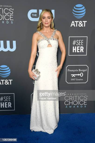 Emily Blunt attends the 24th annual Critics' Choice Awards at Barker Hangar on January 13, 2019 in Santa Monica, California.