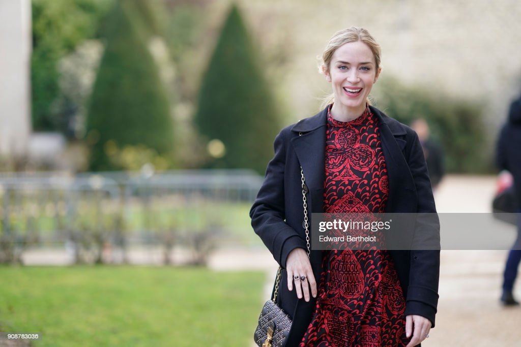 Emily Blunt attends the Christian Dior Haute Couture Spring Summer 2018 show as part of Paris Fashion Week on January 22, 2018 in Paris, France.