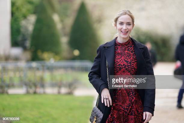 Emily Blunt attends the Christian Dior Haute Couture Spring Summer 2018 show as part of Paris Fashion Week on January 22 2018 in Paris France