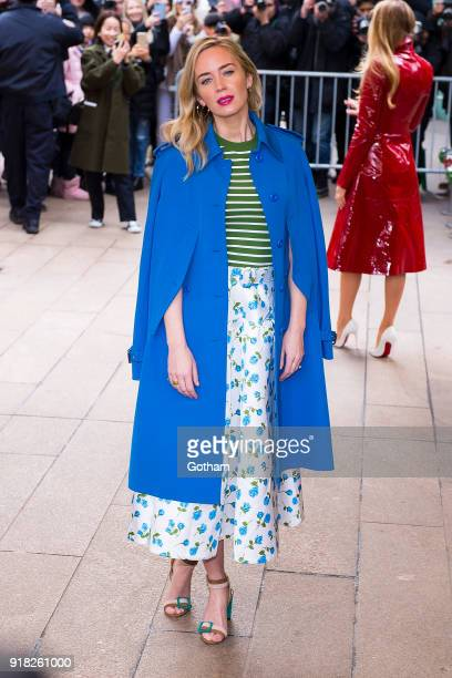 Emily Blunt attends the Michael Kors fashion show during New York Fashion Week at the Vivian Beaumont Theater at Lincoln Center on February 14 2018...