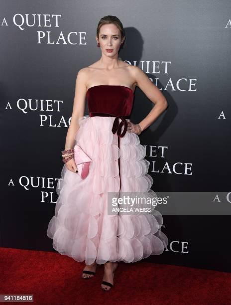 Emily Blunt attends the Paramount Pictures premiere for 'A Quiet Place' at AMC Lincoln Square Theater on April 2 2018 in New York City / AFP PHOTO /...