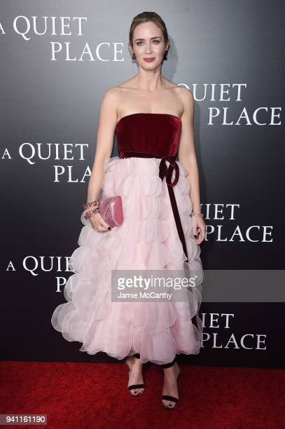 Emily Blunt attends the premiere for 'A Quiet Place' at AMC Lincoln Square Theater on April 2 2018 in New York City