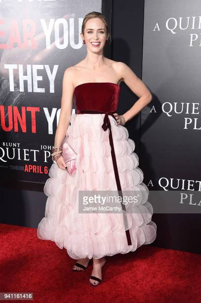 Emily Blunt attends the premiere for A Quiet Place at AMC Lincoln Square Theater on April 2 2018 in New York City