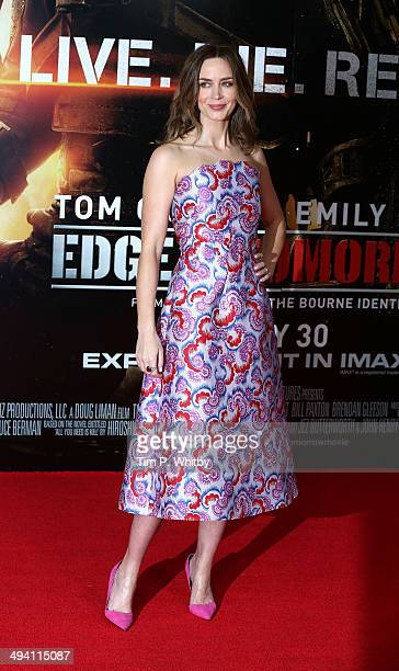 Emily Blunt attends the UK premiere of 'Edge of Tomorrow' at BFI IMAX on May 28 2014 in London England