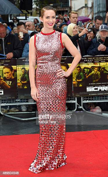 Emily Blunt attends the UK Premiere of Sicario at Empire Leicester Square on September 21 2015 in London England