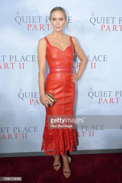 "Emily Blunt attends the world premiere of ""A Quiet Place Part II"" on March 8, 2020 at Rose Theater, Jazz at Lincoln Center in New York City."