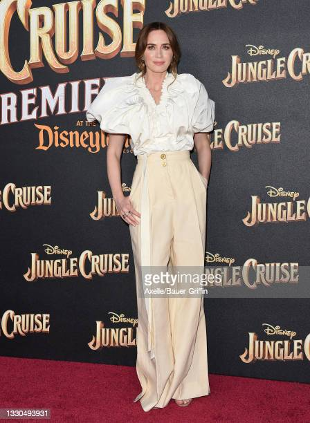 """Emily Blunt attends the World Premiere of Disney's """"Jungle Cruise"""" at Disneyland on July 24, 2021 in Anaheim, California."""