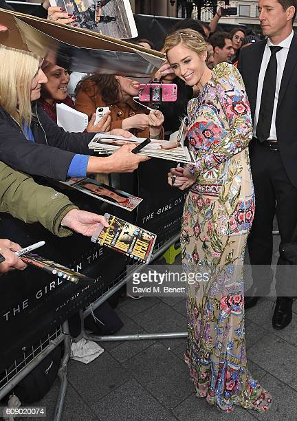 Emily Blunt attends the World Premiere of 'The Girl On The Train' at Odeon Leicester Square on September 20 2016 in London England