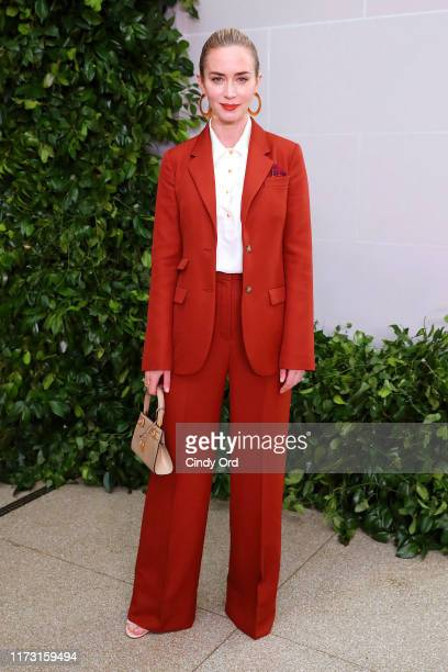 Emily Blunt attends Tory Burch NYFW SS20 at the Brooklyn Museum on September 08, 2019 in Brooklyn City.