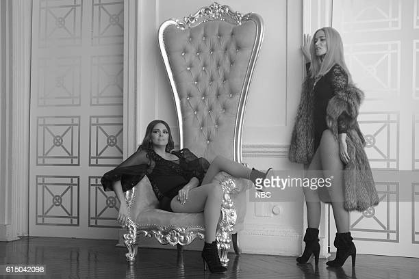 LIVE 'Emily Blunt' Episode 1707 Pictured Cecily Strong as Melania Trump and Emily Blunt as Ivanka Trump during the 'Melanianade' sketch on October 15...