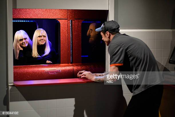 LIVE Emily Blunt Episode 1707 Pictured Cecily Strong Kate McKinnon and Pete Davidson during the Drive Through Window sketch on October 15 2016