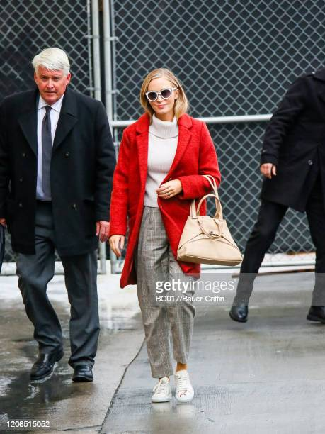 Emily Blunt is seen arriving at 'Jimmy Kimmel Live' Show on March 10 2020 in Los Angeles California