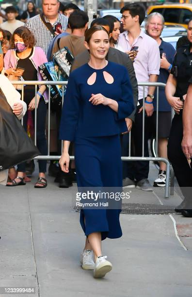 """Emily Blunt is seen arriving for """"The Late Show with Stephen Colbert"""" on July 15, 2021 in New York City."""