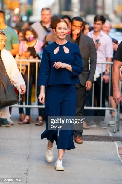 """Emily Blunt is seen arriving for """"The Late Show with Stephen Colbert"""" in Midtown on July 15, 2021 in New York City."""