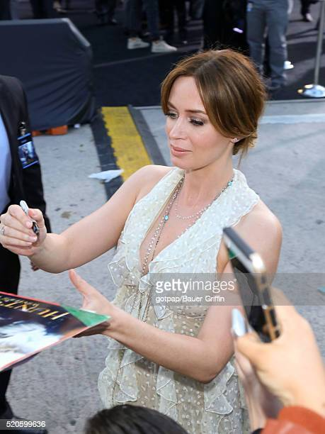 Emily Blunt is seen attending the premiere of Universal Pictures' 'The Huntsman Winter's War' at the Regency Village Theatre on April 11 2016 in Los...