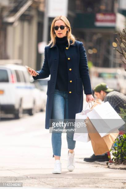 Emily Blunt is seen in Tribeca on April 12 2019 in New York City