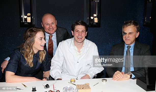 Emily Blunt , IWC Schaffhausen CEO George Kern and Christoph Waltz visit the IWC booth during the Salon International de la Haute Horlogerie 2015 at...