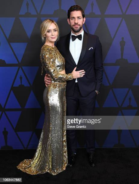 Emily Blunt, John Krasinski arrives at the Academy Of Motion Picture Arts And Sciences' 10th Annual Governors Awards at The Ray Dolby Ballroom at...
