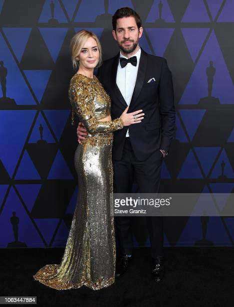Emily Blunt John Krasinski arrives at the Academy Of Motion Picture Arts And Sciences' 10th Annual Governors Awards at The Ray Dolby Ballroom at...
