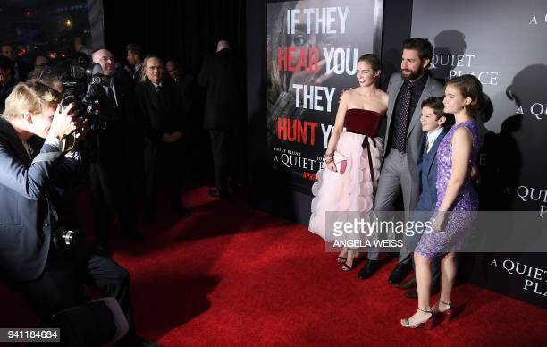 Emily Blunt, John Krasinski, Noah Jupe and Millicent Simmonds attend the Paramount Pictures premiere for 'A Quiet Place' at AMC Lincoln Square...