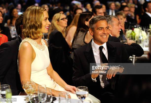 Emily Blunt John Krasinsky and George Clooney during the 18th Annual Critics' Choice Movie Awards at The Barker Hanger on January 10 2013 in Santa...