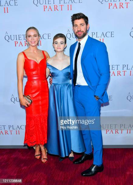 Emily Blunt Millicent Simmonds and John Krasinski attend the World Premiere of A Quiet Place Part II presented by Paramount Pictures at the Rose...