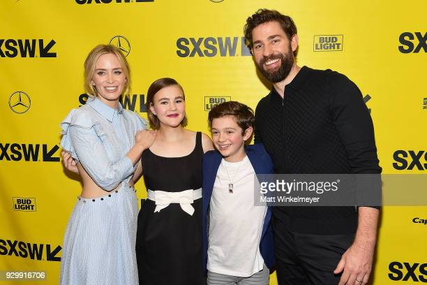 Emily Blunt Millicent Simmonds Noah Jupe and John Krasinski attend the 'A Quiet Place' Premiere 2018 SXSW Conference and Festivals at Paramount...
