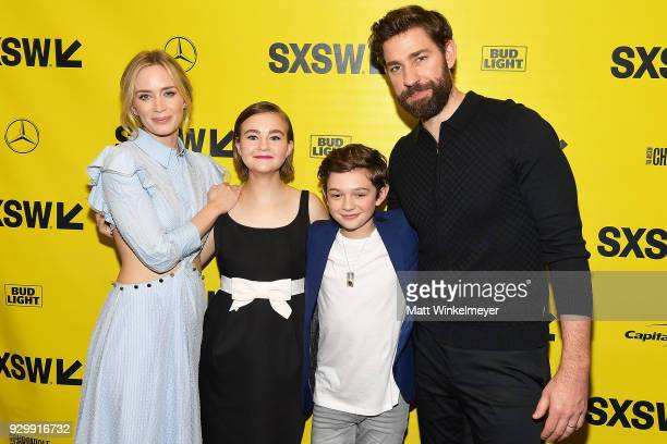 """Emily Blunt, Millicent Simmonds, Noah Jupe, and John Krasinski attend the """"A Quiet Place"""" Premiere 2018 SXSW Conference and Festivals at Paramount..."""