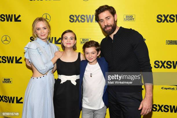 Emily Blunt Millicent Simmonds Noah Jupe and John Krasinski attend the A Quiet Place Premiere 2018 SXSW Conference and Festivals at Paramount Theatre...