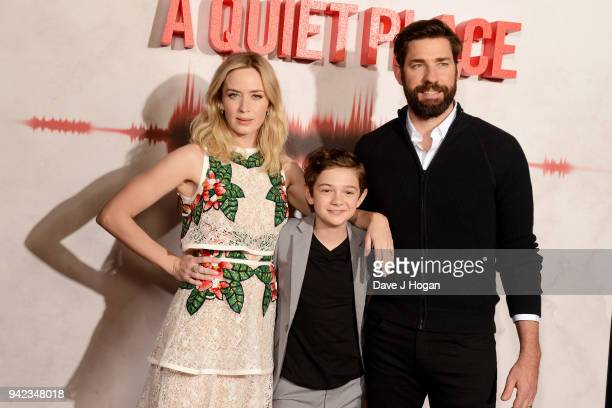 Emily Blunt Noah Jupe and John Krasinski attend a screening of 'A Quiet Place' at Curzon Soho on April 5 2018 in London England