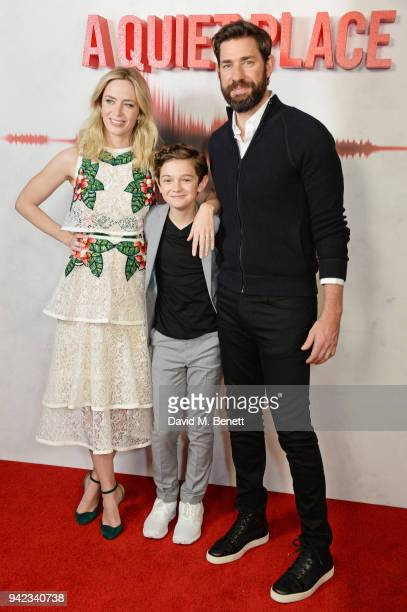 Emily Blunt Noah Jupe and John Krasinski attend an immersive fan screening of 'A Quiet Place' at The Curzon Soho on April 5 2018 in London England