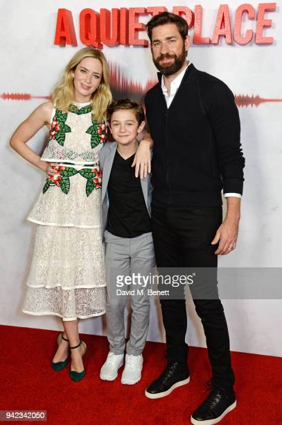 Emily Blunt Noah Jupe and John Krasinski attend an immersive fan screening of A Quiet Place at The Curzon Soho on April 5 2018 in London England