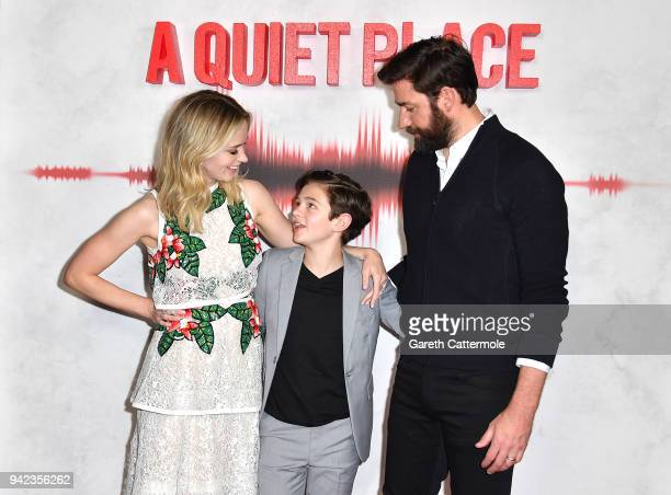 Emily Blunt Noah Jupe and John Krasinski attend an immersive VIP Fan Screening of 'A Quiet Place' on April 5 2018 in London England