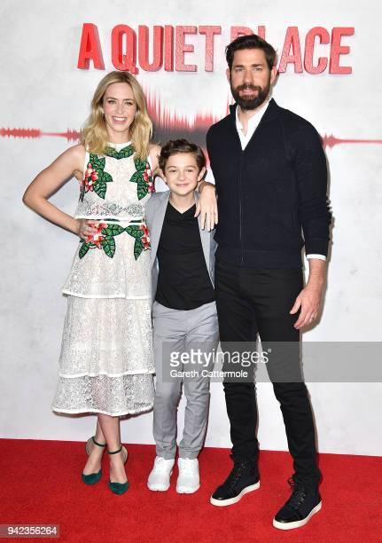 Emily Blunt, Noah Jupe and John Krasinski attend an immersive VIP Fan Screening of 'A Quiet Place' on April 5, 2018 in London, England.