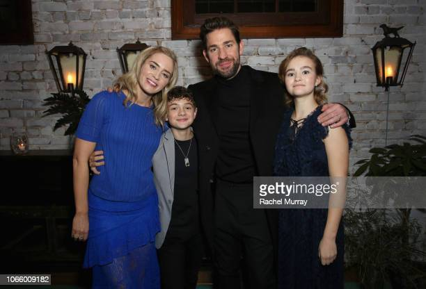 Emily Blunt Noah Jupe John Krasinski and Millicent Simmonds attend a special screening of 'A Quiet Place' at The Hearth and Hound on November 27 2018...