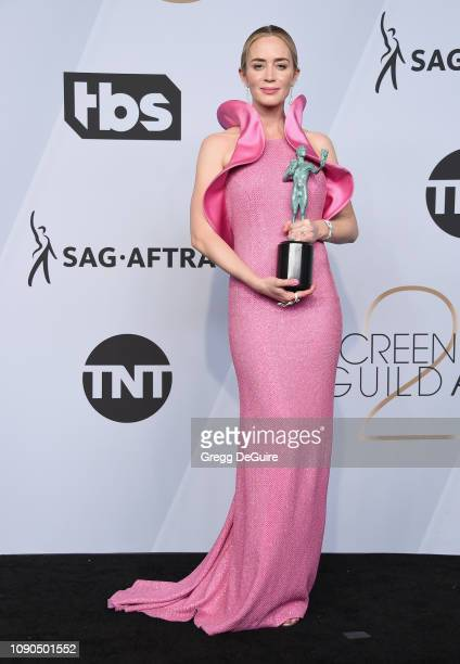 Emily Blunt poses in the press room with award for Outstanding Performance by a Female Actor in a Supporting Role in 'A Quiet Place' during the 25th...