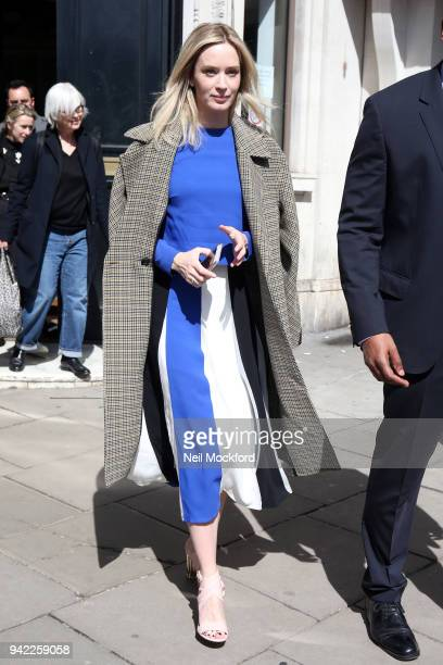 Emily Blunt seen leaving Magic Radio after an interview promoting new movie 'A Quiet Place' on April 5 2018 in London England