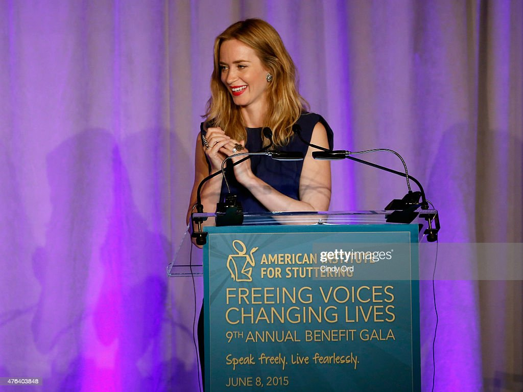 Emily Blunt speaks onstage at American Institute for Stuttering Freeing Voices Changing Lives Gala on June 8, 2015 in New York City.
