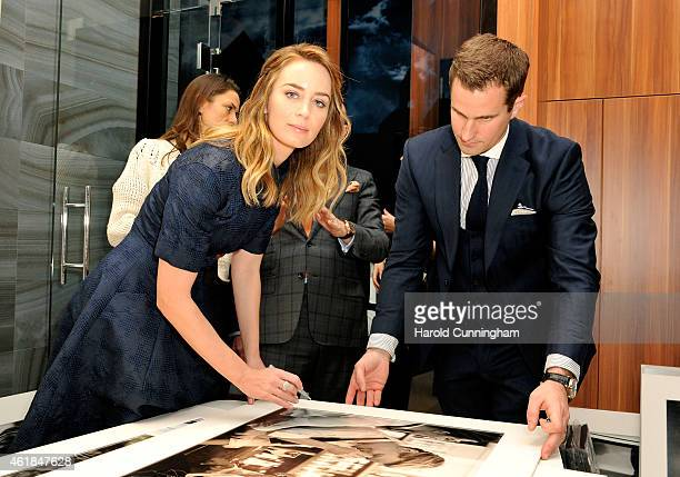 Emily Blunt visits the IWC booth during the Salon International de la Haute Horlogerie 2015 at the Palexpo on January 20, 2015 in Geneva, Switzerland.