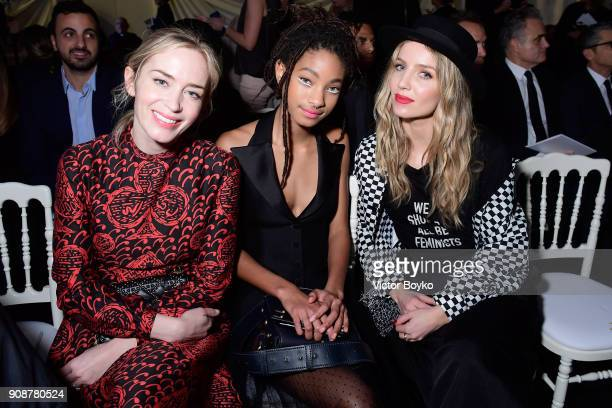 Emily Blunt Willow Smith and Annabelle Wallis attend the Christian Dior Haute Couture Spring Summer 2018 show as part of Paris Fashion Week on...
