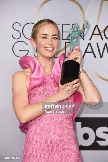 Emily Blunt, winner of Outstanding Performance by a Female Actor in a Supporting Role for 'A Quiet Place,' poses in the press room during the 25th...