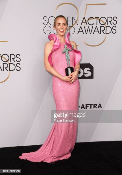 Emily Blunt winner of Outstanding Performance by a Female Actor in a Supporting Role for 'A Quiet Place' poses in the press room during the 25th...
