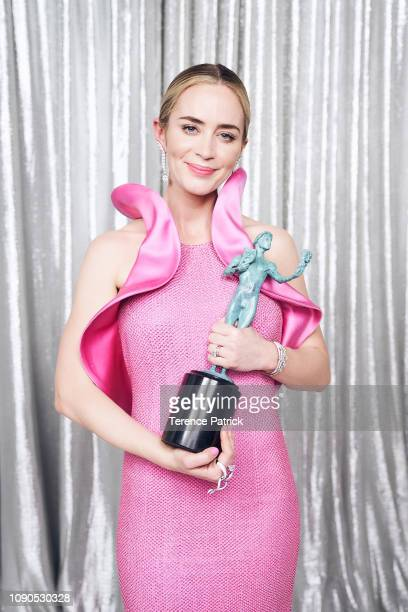 Emily Blunt, winner of Outstanding Performance by a Female Actor in a Supporting Role in 'A Quiet Place', poses in the Winner's Gallery during the...